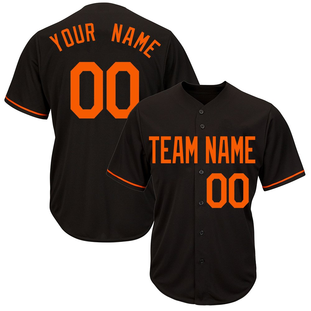 Custom Men's Black Mesh Baseball Jersey with Stitched Player Team Name and Your Numbers,Orange Size S by DEHUI