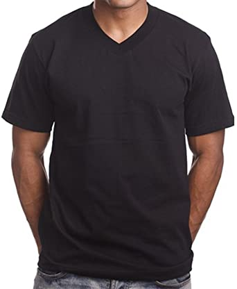 Amazon.com: 2 Pack Black V Neck Men's Plain T shirts PRO 5 Blank ...