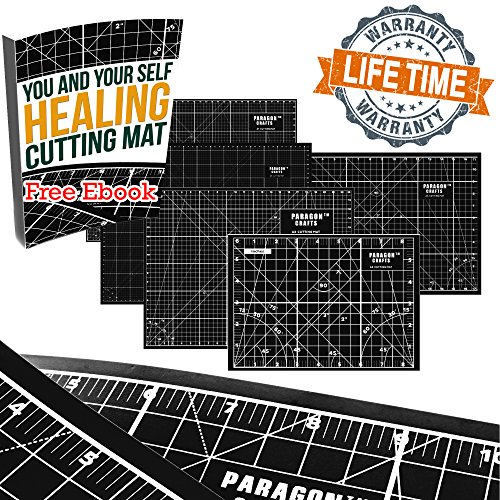 "Premium Double Sided Self Healing Rotary Cutting Board With Grids & Angle Indications For Maximum Precision – Perfect For Sewing, Scrapbooking, Quilting, School & DIY Projects – 17"" x 11"" – Black by Paragon Crafts"