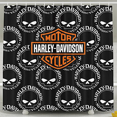 Flyokk Harley Davidson Skull Bathroom Waterproof Fabric S...