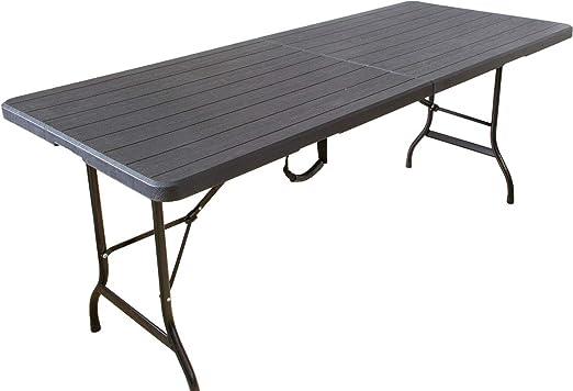 Beach & Pool - Mesa Plegable (180 cm, plástico), Color Negro ...