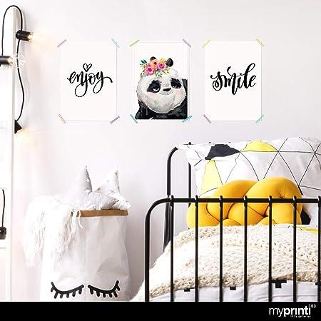 myprinti® Set de 3 Carteles para la habitación de los niños   póster para niños   Muchacho Muchacha mimar bebé   tamaño DIN A3   Enjoy, Oso Panda, Flores, Smile, Escribir