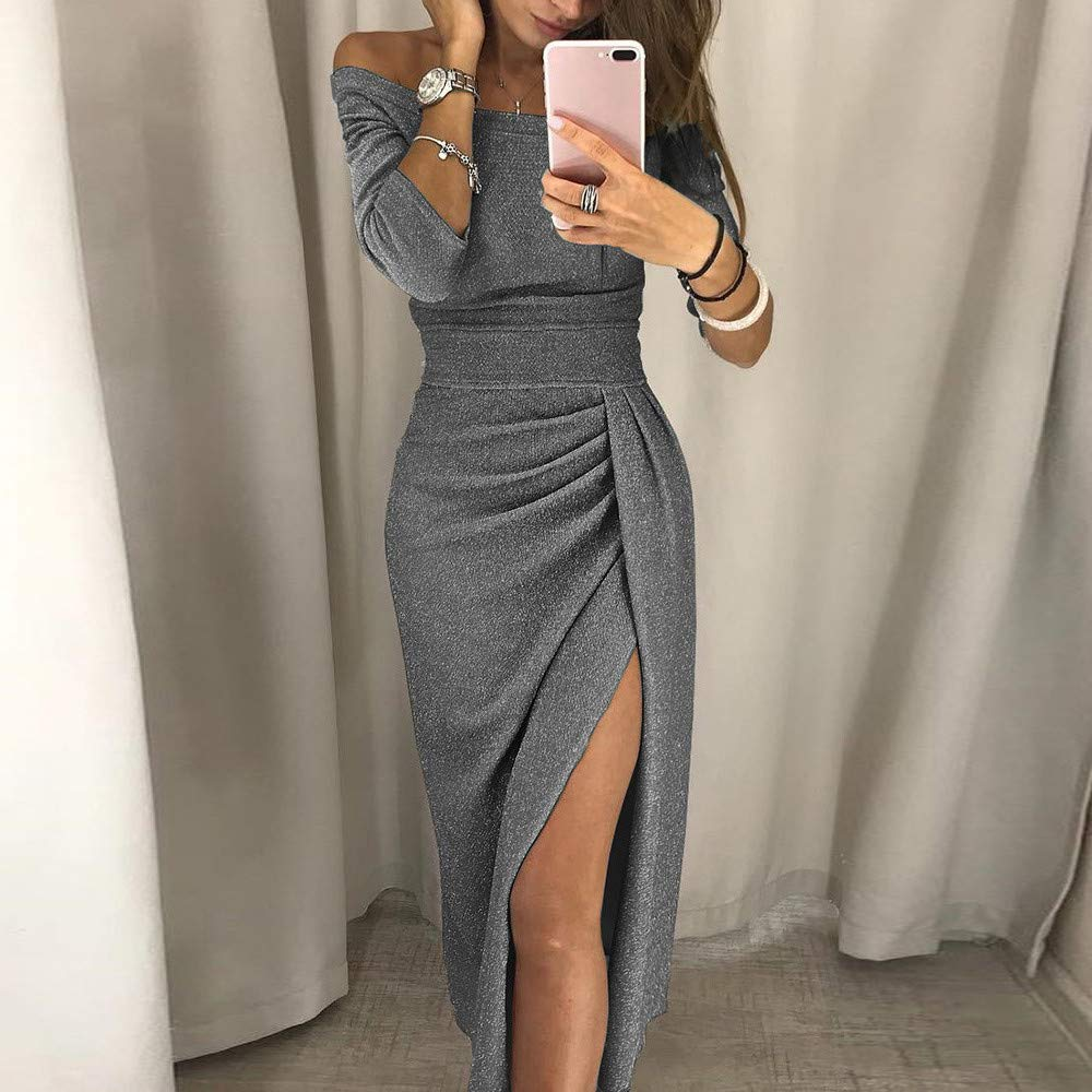 EKIMI Womens Bodycon Ruffles Side Slit Formal Evening Gown Business Pencil Cocktail Dress