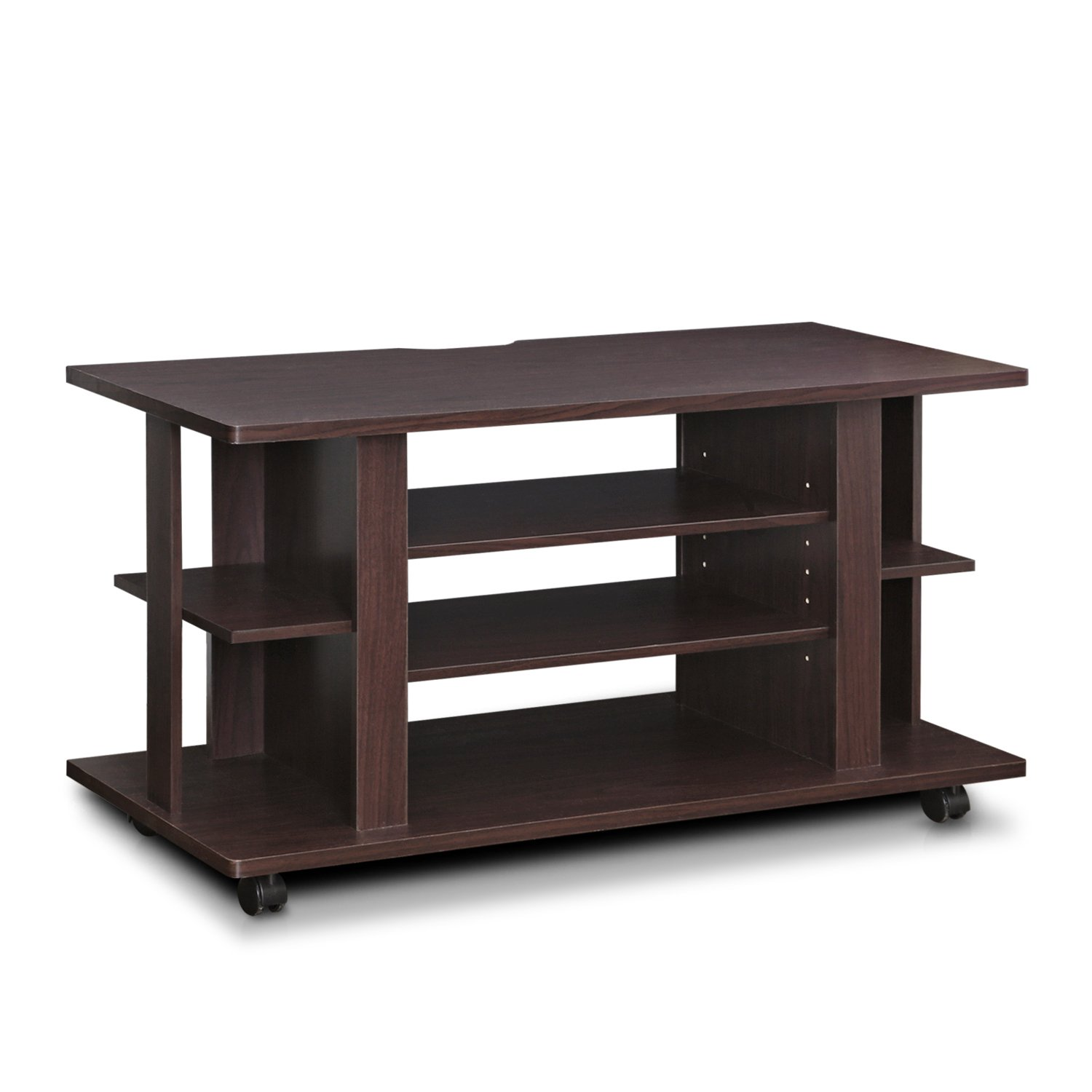 Furinno Indo 4-Tier Low Rise Tatami TV Stands with Casters, Espresso