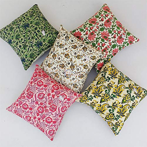 Traditional Jaipur Set of 5 Block Print Fabric Indian Cushions Pillow Covers Decorative Throw Pillowcases Handcrafted Outdoor Cushion Cover Boho Pillow Shams (18 x 18 inches)