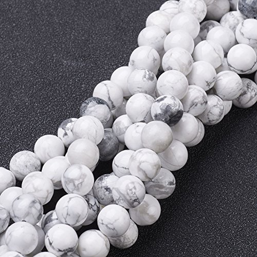 NBEADS 10 Strands Gemstone Beads Strands, Natural Howlite Round Beads, White, About 8mm in Diameter, Hole: About 1mm, - Beads Howlite Strands