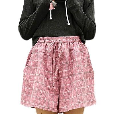 Adelina Ladies Summer Loose Check Cortos Pantalones Short Casuales Pantalones Moda Moda Completi Joven Señoras Sueltas Short Summer Short Pantalón con Cintura Elástica Dkw0032: Ropa y accesorios