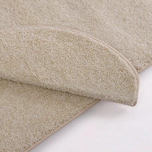 Teppich Läufer uni creme | Qualitätsprodukt aus Deutschland | GUT Siegel | kombinierbar mit Stufenmatten | 19 Breiten und 18 Längen (60 x 300cm)