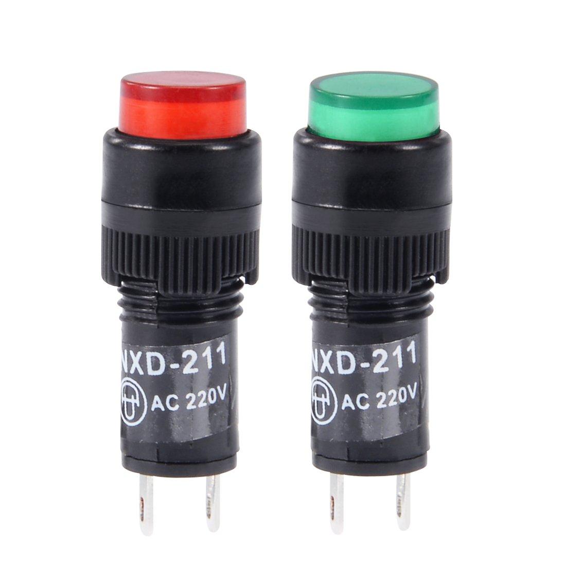 NXD-211 Bombilla de ne/ón verde sourcing map Luces indicadoras DC 12V montaje en panel al ras 2//510 mm 10 piezas