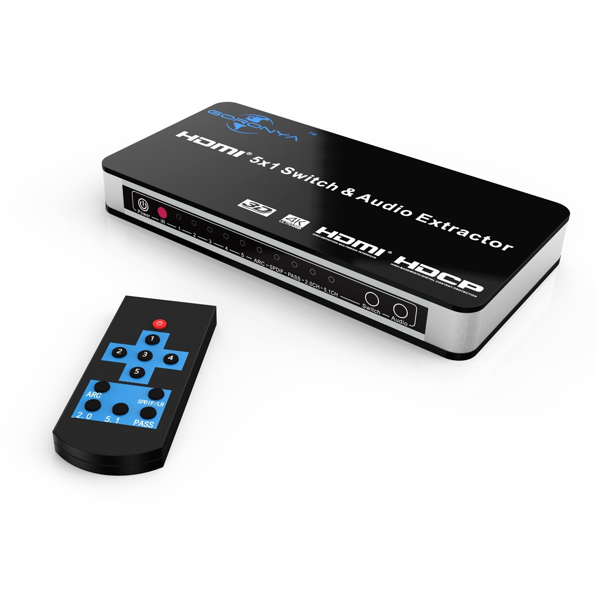 Galleon - Goronya 4K X 2K HDMI Switch 5 Port With Audio Extractor