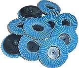 24 GRIT ROLL LOCK ROLOC R TYPE 2'' FLAP WHEEL SANDING ABRASIVE DISCS, 10 Discs