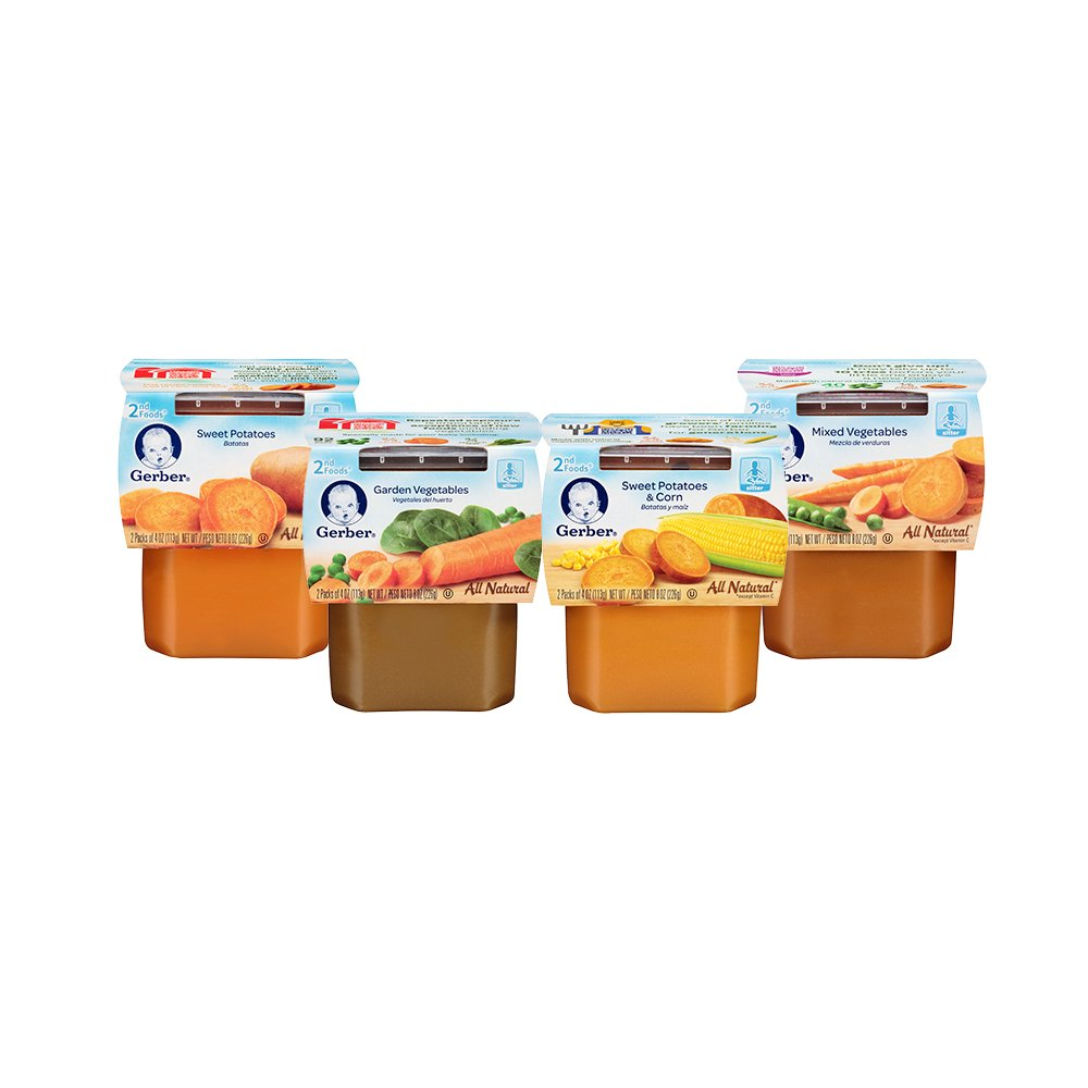 gerber 2nd foods variety pack veggies 4 ounce tubs 2 count pack of 16 amazoncom grocery gourmet food
