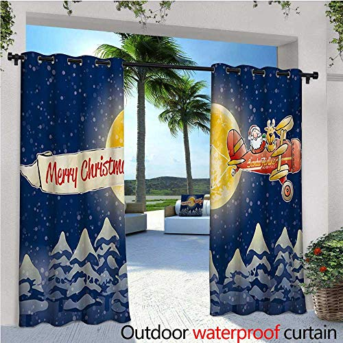Christmas Outdoor Privacy Curtain for Pergola Santa Claus Airline Theme Vintage Plane Full Moon Snow Covered Trees Thermal Insulated Water Repellent Drape for Balcony W96 x L96 Dark Blue Marigold ()