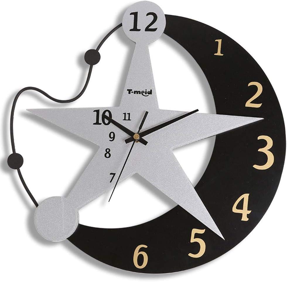 Noir et Blanc, 30,5x21,5cm Xiuyer Horloge Murale Silencieuses Chat /& Poisson Acrylique Pendules Murales Design Moderne Hanging Clock pour Maison Salon Cuisine Enfants Chambre D/écoration