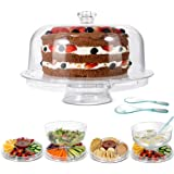 Acrylic Cake Stand 6-in-1 Multifunctional Serving Platter with Domed Cover and 2Pcs Spoons - Use as Salad Bowl/Veggie…
