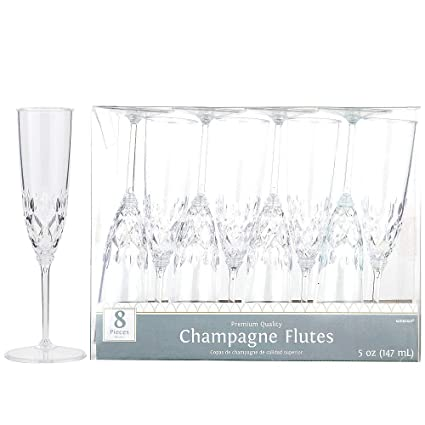 Amazoncom Hollydel Clear Crystal Premium Plastic Champagne Flutes
