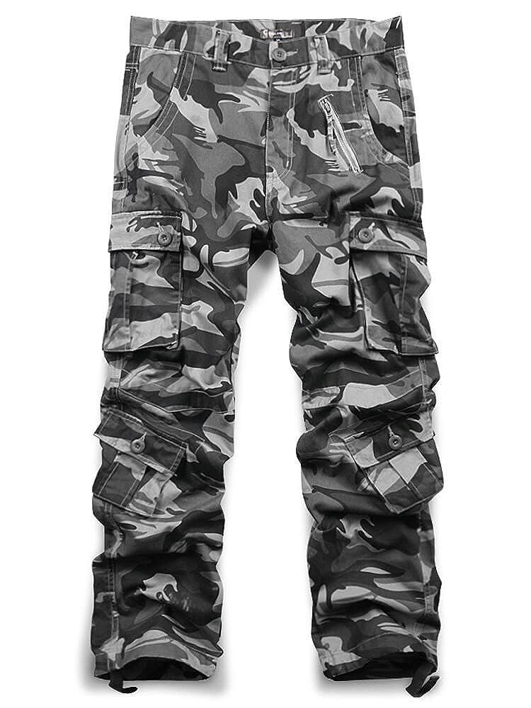 TALLA 40. Jessie Kidden Hombres Suelto Algodón Pantalones Cargo con 8Bolsillos # 7533