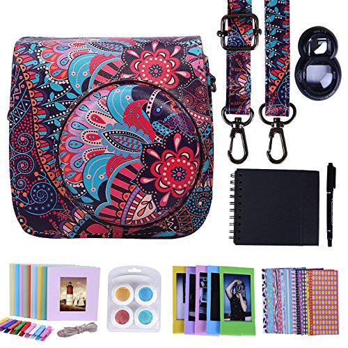 HDE Camera Case for Fujifilm Instax Mini 9 or 8/8+ Case and Accessories Kit Includes Leather Mini 9 Case and Strap Album Selfie Lens Photo Line Frames Borders Stickers Pen & More (Purple Paisley)