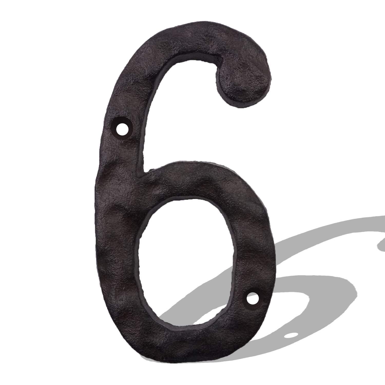 massiv und robust rustikale Adress-Nummer 15,2 cm Hausnummern aus Gusseisen einfache Installation mit passenden Schrauben