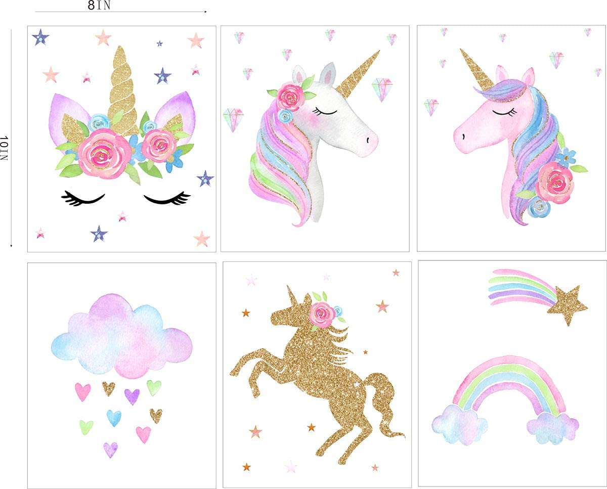 2 Cute Unicorn Rainbow Nursery Prints Girls Baby Pink Wall Art Picture Decor