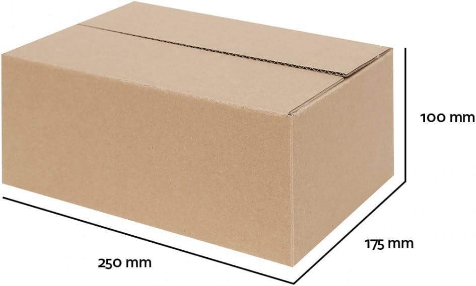 100 Faltkartons 250x200x80 mm Einwellig Versandkartons Karton B-Welle weiß
