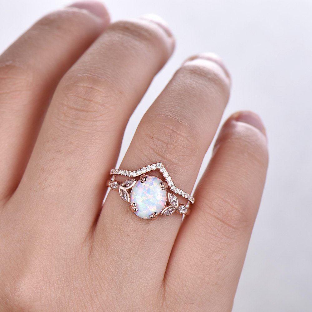 Amazon.com: Opal Wedding Ring Set Opal Ring White Fire Opal Floral ...