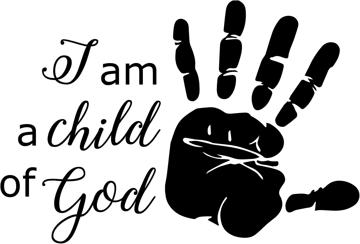 CustomVinylDecor Christian Quote Wall Decor I am a Child of God with Hand Print Religious Vinyl Lettering Sticker for Home, Church, Office, or School Classroom