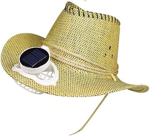 CONRAL Sombrero Vaquero con Ventilador refrigeración para Hombres, batería y energía Solar Ventilador Fresco ala Ancha Visera Gorra Unisex para Eventos al Aire Libre Viaje Playa Vacaciones,Yellow: Amazon.es: Jardín
