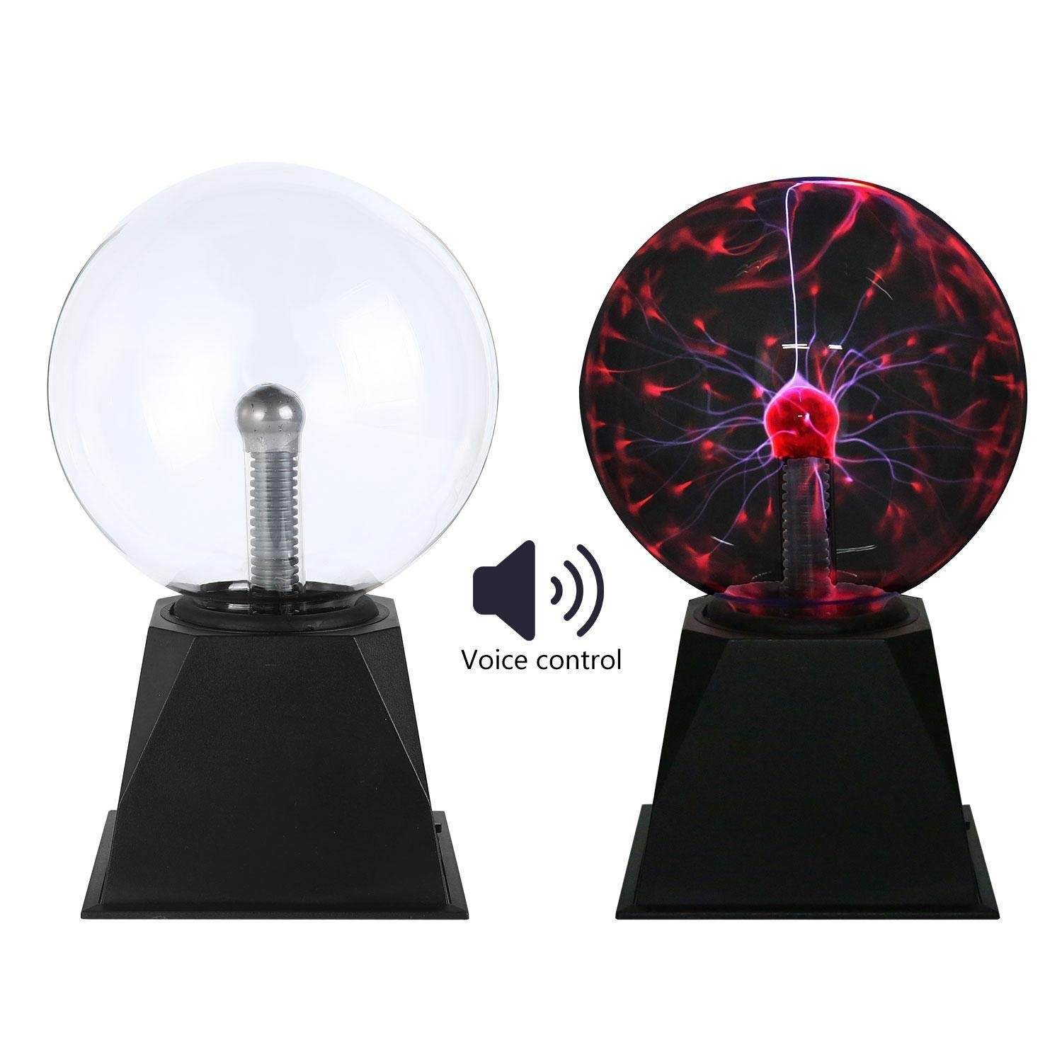 Youtree Plasma Ball, Plasma Light Lamp Large Electric Globe Static Light W Touch, Sound Sensitive Lightning, Big 6/8 Inch Glass Sphere and Mini Tesla Energy Coil is Best Science Toy Nightlight for Kid