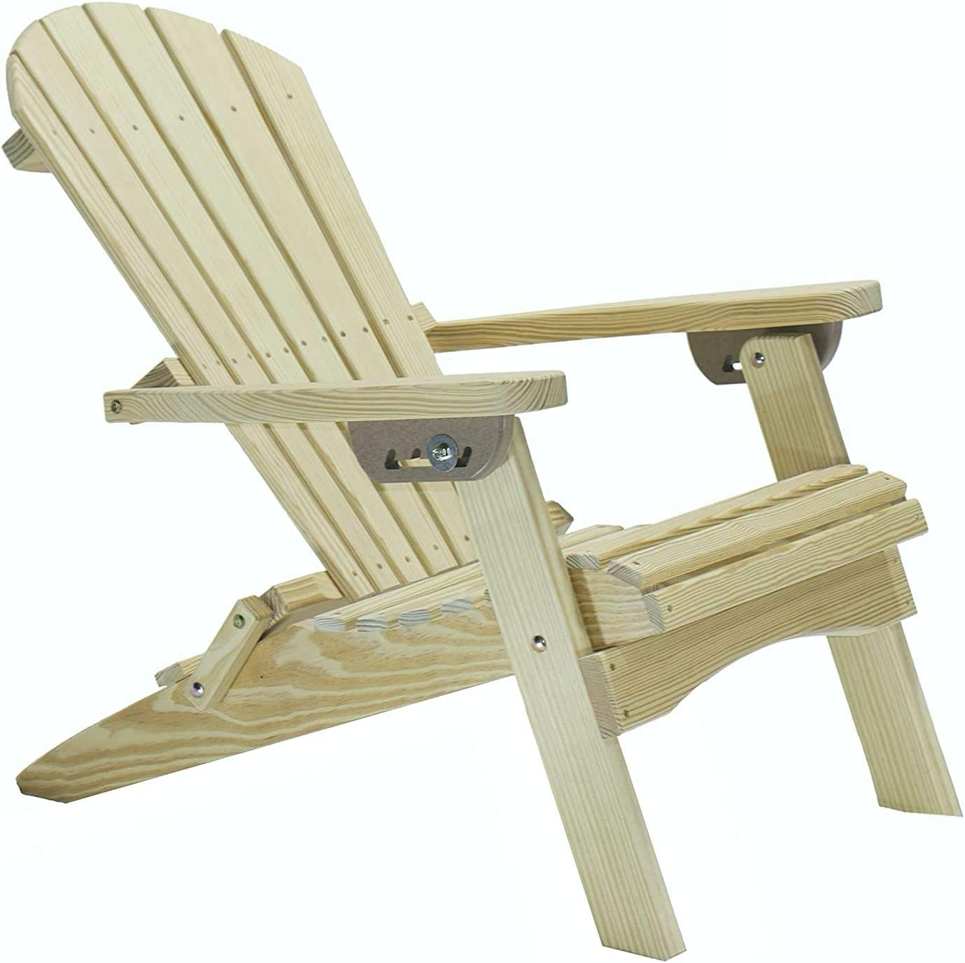 GAZEBO JOE'S Reclining Lounge Wood Folding Adirondack Chair - Made in USA for Patio, Yard, Deck, Garden Furniture