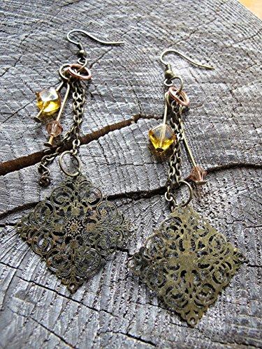 'Fate' - Boho Dangle Earrings ~ Gypsy Dangle Earrings ~ Long Brass ()