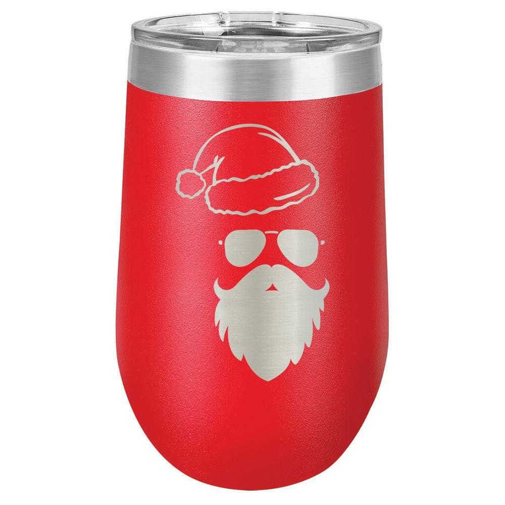HIPSTER SANTA 16オンス 脚なしワイングラス 蓋付き ホリデーパーティーカップ 楽しいクリスマスの引用付き 刻印入り ステンレススチール製ワインタンブラー ギフトに 16 oz レッド 16oz-Red-HS B07KGB8NTR レッド