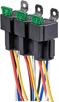 Gebildet 3 St/ück 12V Sicherungsrelais 30A ATO//ATC Flachsicherung mit Kabelbaumsatz 4-polige SPST Relais f/ür den Automobilbereich mit 14 AWG Hochleistungskabeln