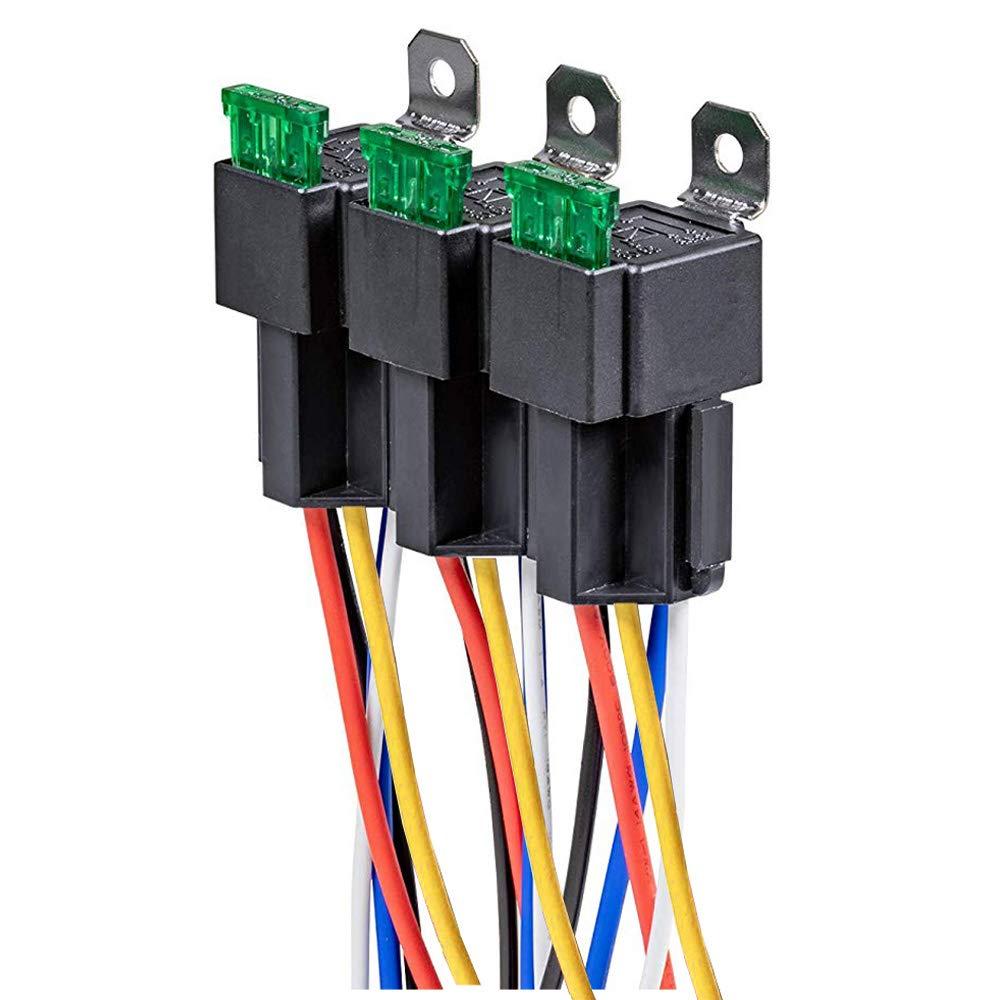 5-polige SPDT Relais f/ür den Automobilbereich mit 14 AWG Hochleistungskabeln Gebildet 3 St/ück 12V Sicherungsrelais 30A ATO//ATC Flachsicherung mit Kabelbaumsatz