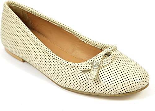 Womens Cream Leather Flat Pumps Shoes