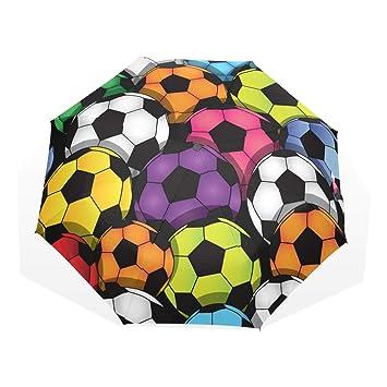 GUKENQ Paraguas de Viaje Colorido de fútbol Ligero Anti UV Paraguas de Lluvia para Hombres Mujeres