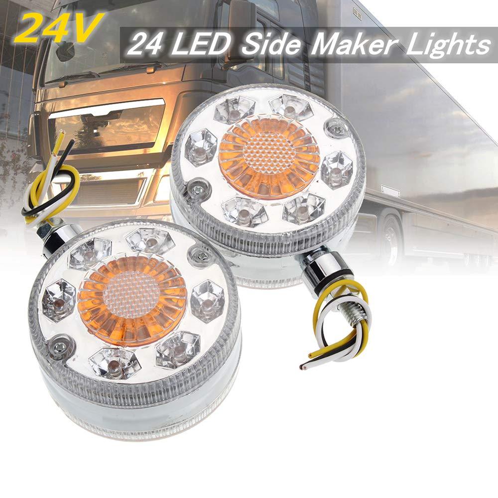 Lasamot 2X Cromo Rosso Bianco LED luci di Posizione Laterali Specchio Specchio Camion rimorchio Camion 12 24V