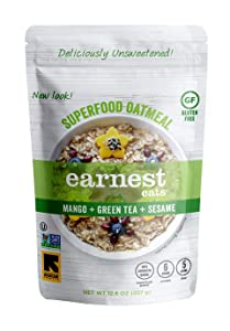 Earnest Eats Superfood Oatmeal, Hot Cereal with Quinoa Oats & Amaranth, Vegan, Gluten Free, Asia Blend, 6 Count