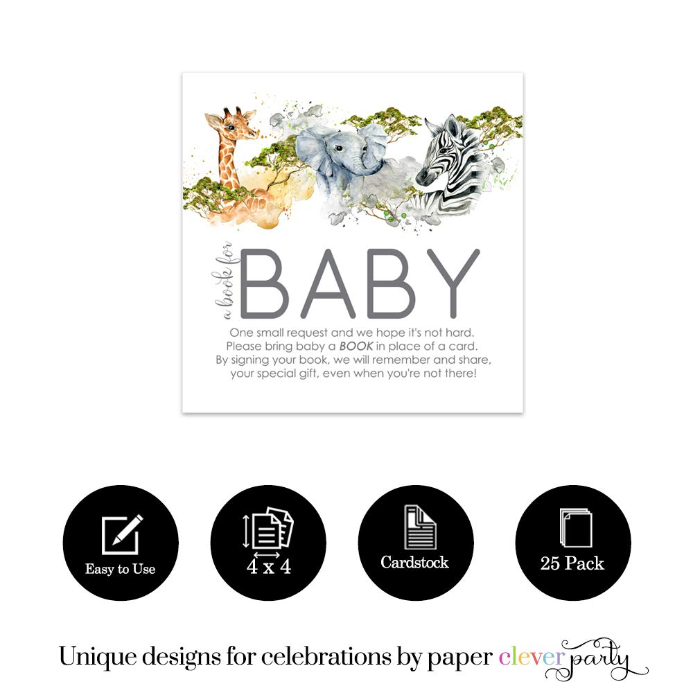 Jungle Animal Bring a Book for Baby Shower Invitation Insert Cards Set of 25 Paper Clever Party