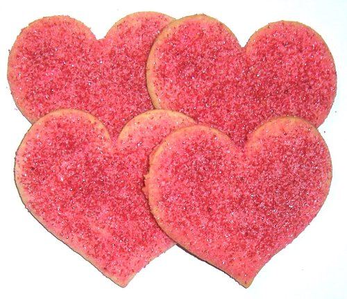 Scott's Cakes Heart Shaped Sugar Cookies with Red and Pink Sugar in a 1 Pound White Bakery Box