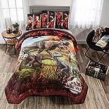 Jurassic World Fallen Kingdom Soft Microfiber Comforter and Sheet Set, Full Size 5 Piece Kids Bedding Set