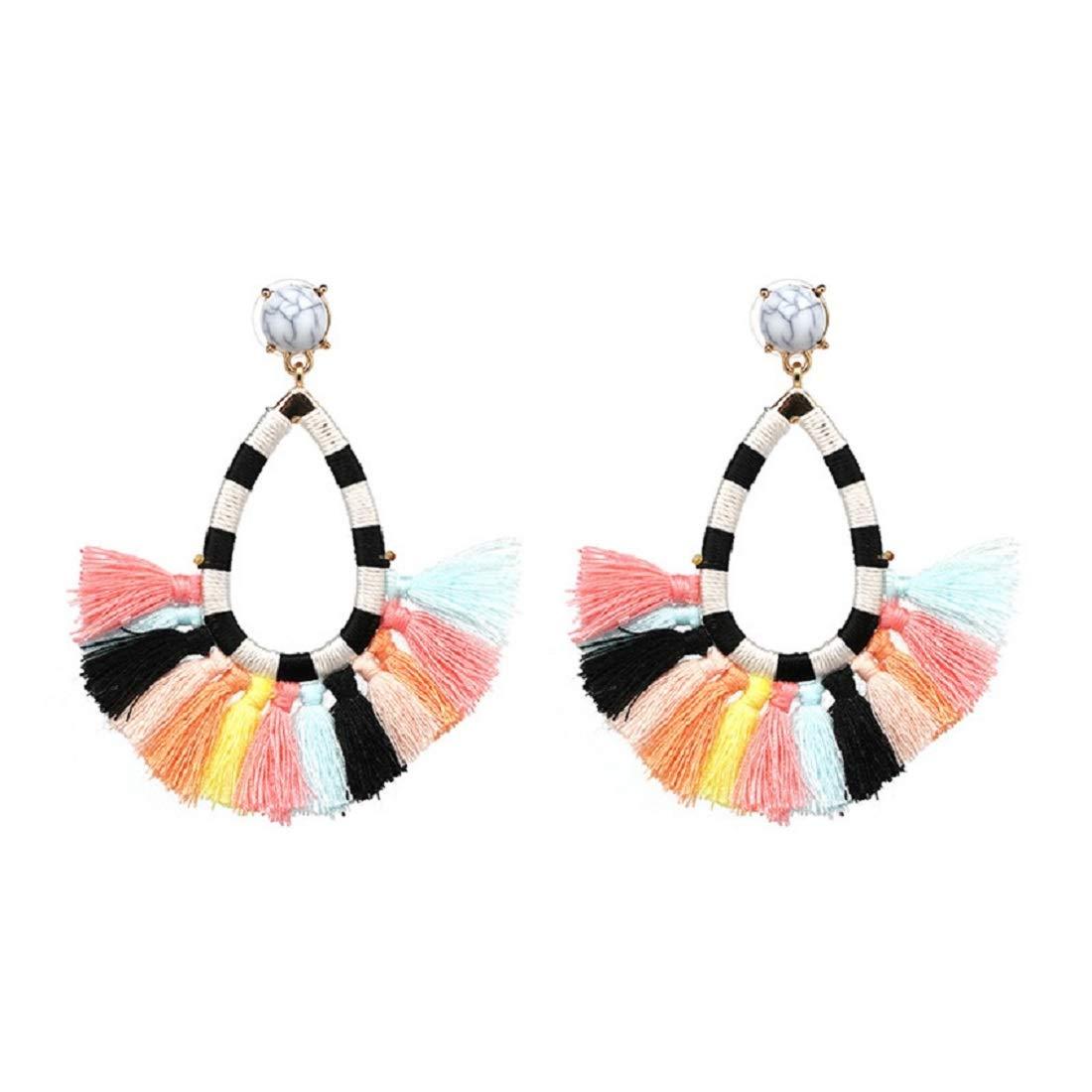 Surprise goods Beaded Tassel Earrings Long Fringe Drop Bohemian Earings Dangle 7 Colors