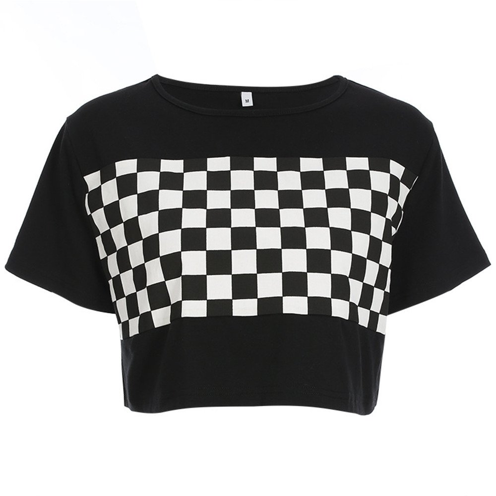 malianna T-Shirt Femme Noir et Blanc /à Carreaux en Damier /à col en V et /à Carreaux Streetwear Femme Tee Shirt