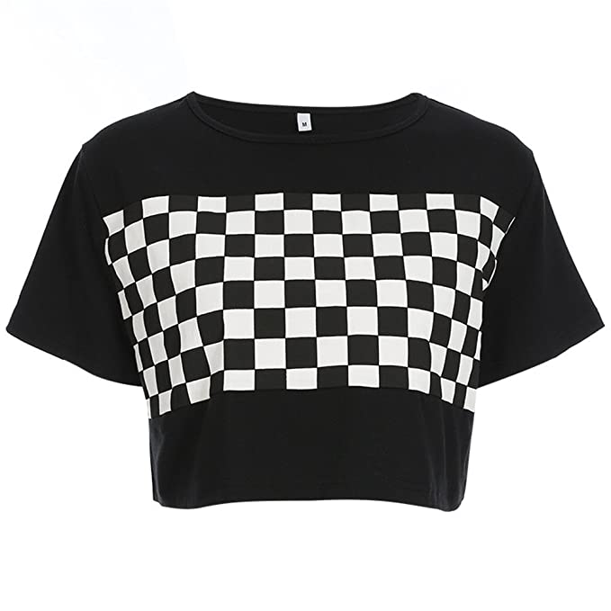 d670f336428 Azigongyey Women Checkerboard Print Loose Black O-Neck Plaid T-Shirt  Streetwear Crop Top