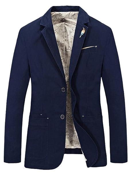 Vogstyle Hombres Slim Fit 2 Botón de Solapa Cool Business Blazer Abrigo Chaquetas Blazers: Amazon.es: Ropa y accesorios