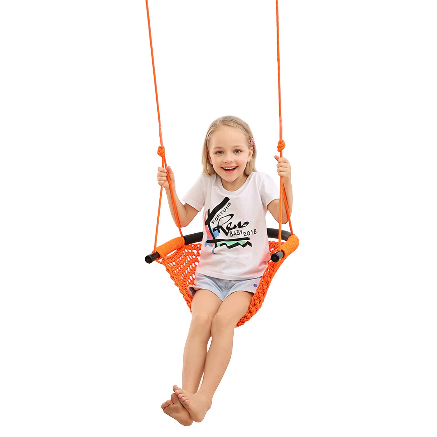 JKsmart Swing Seat for Kids Heavy Duty Rope Play Secure Children Swing Set,Perfect for Indoor,Outdoor,Playground,Home,Tree,with Snap Hooks and Swing Straps,440 lbs Capacity,Orange(Patent Pending)