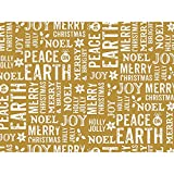 Metallic Peace On Earth Gold 30'' x 150' Gift Wrap Roll