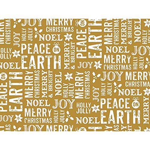 Metallic Peace On Earth Gold 30'' x 150' Gift Wrap Roll