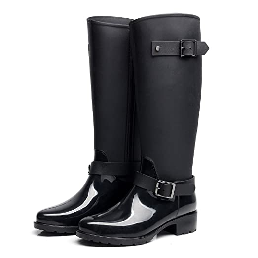 Women's Mid Calf Rubber Rain Boots Wellies Waterproof
