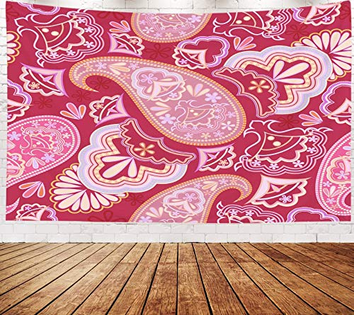 Asdecmoly Boho Tapestry, Wall Hanging Tapestry for Living Room and Bedroom 80 Lx60 W Inches Pattern Geometric Elements Bright Traditional Eastern Ornament Picture Paisley Art Printing Inhouse